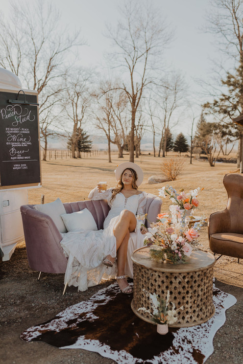 Western Chic Wedding Lounge and Bride