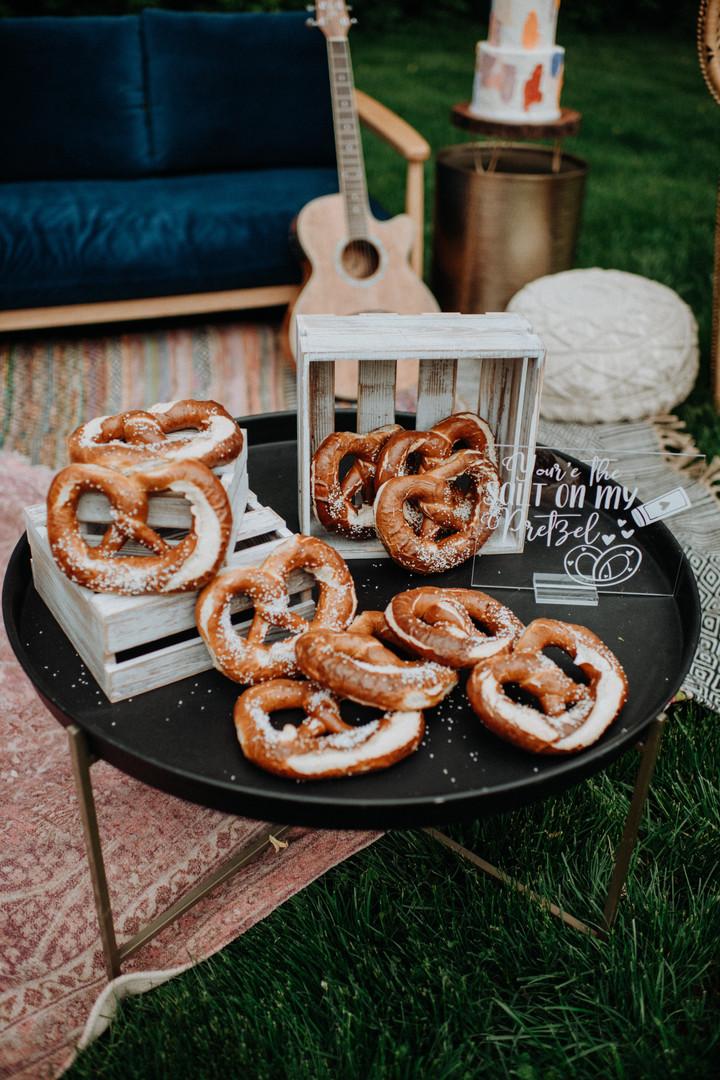 wedding pretzel bar with custom sign