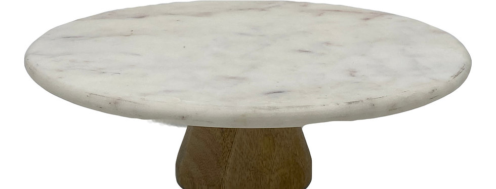 Cake Stand, Marble Top w/ Wood Base