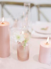 Pink Wedding Reception Table with Bud Va