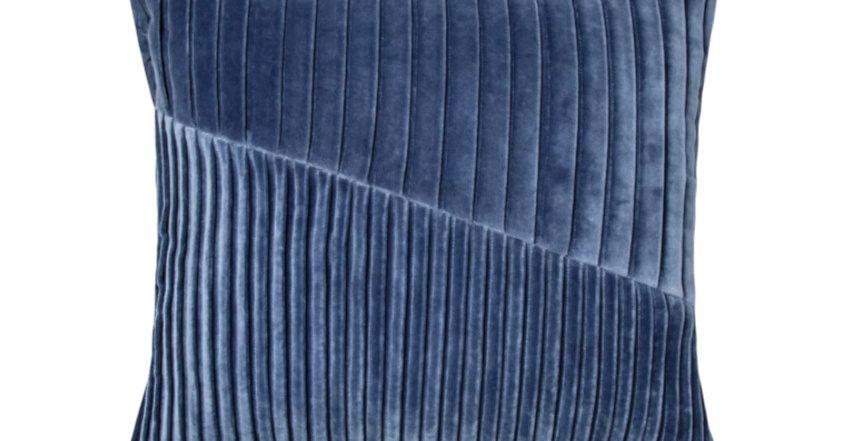 Pleated Velvet Blue Throw Pillow