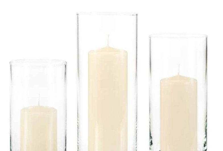 Slim Pillar Candles and Vase, Set of 3
