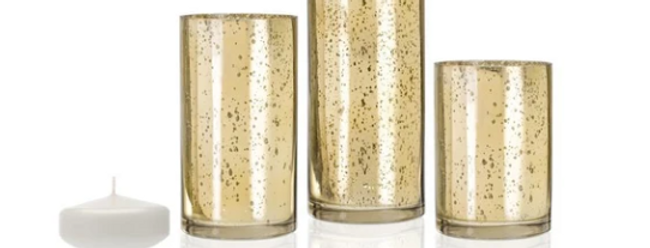 Gold Metallic Cylinders w/ Floating Candles, Set of 3