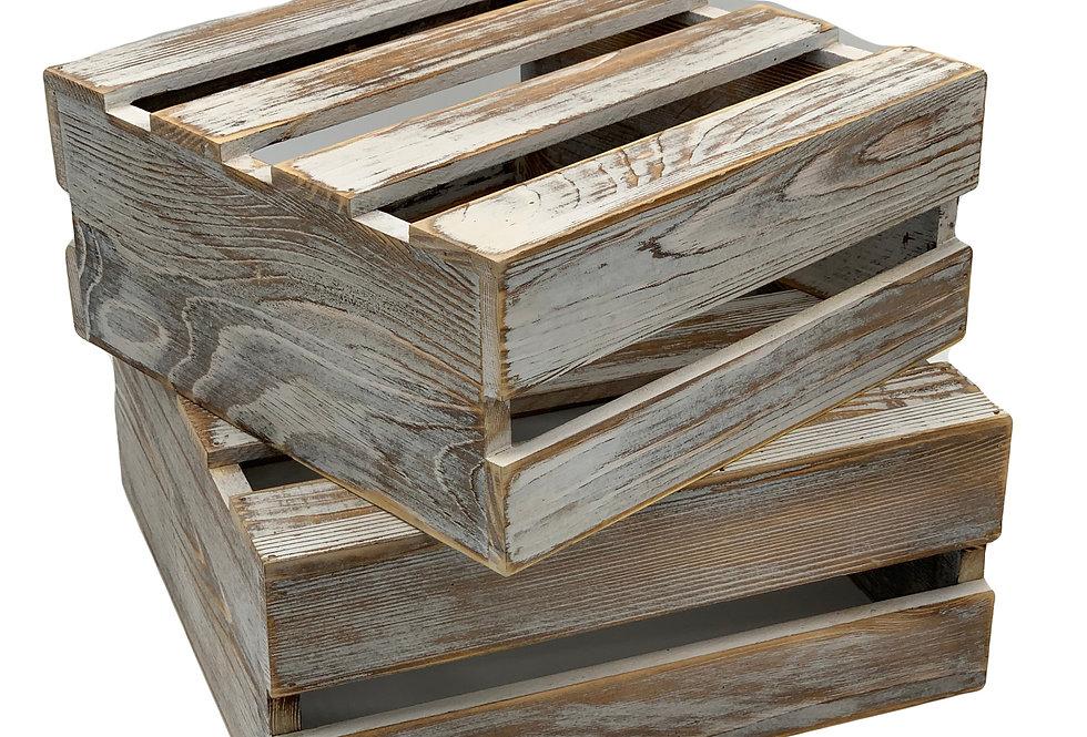 Shabby Whitewashed Wood Crate, Medium