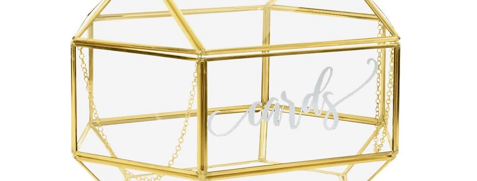 Gold Geometric Glass Card Box