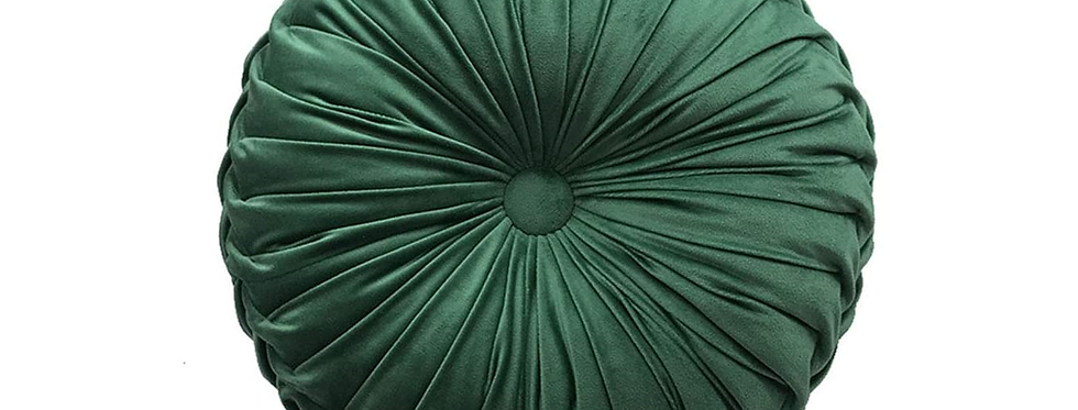 Pleated Green Throw Pillow