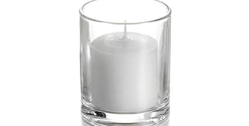 Clear Glass Votive and Candle Set