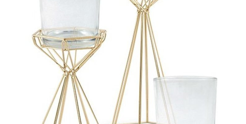 Gold Geometric Candle Holders, Set of 2