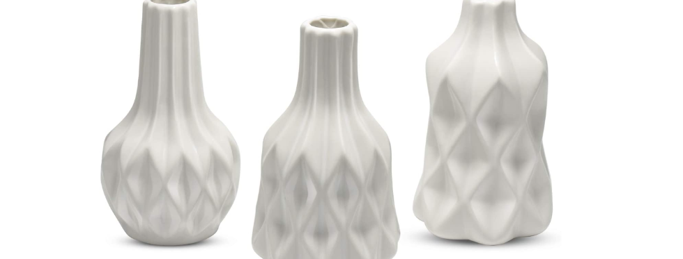 White Ceramic Bud Vase, Set of 3