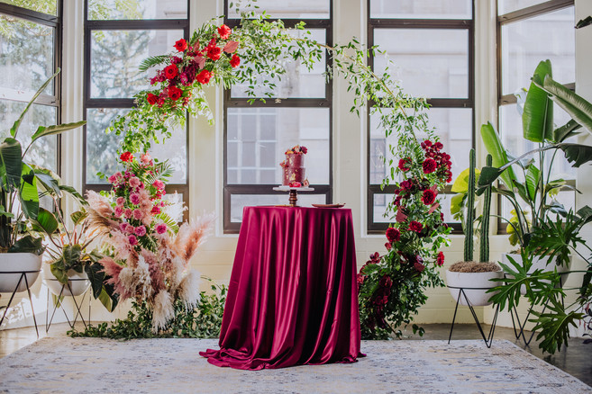 Gold Round Arch with Cake Table