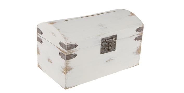 Antique Wood Card Box, White
