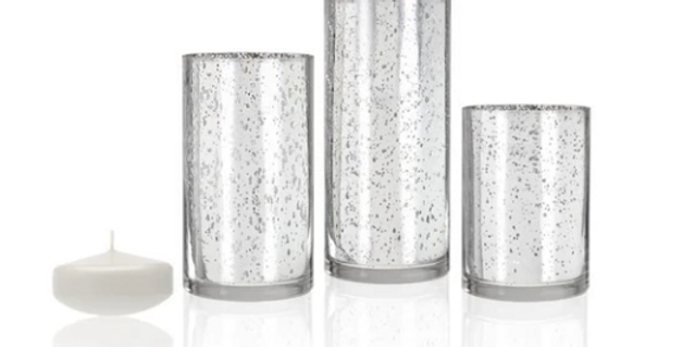 Silver Metallic Cylinders w/ Floating Candles, Set of 3