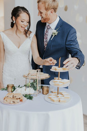 Bride and Groom Cake Cutting Dessert Table