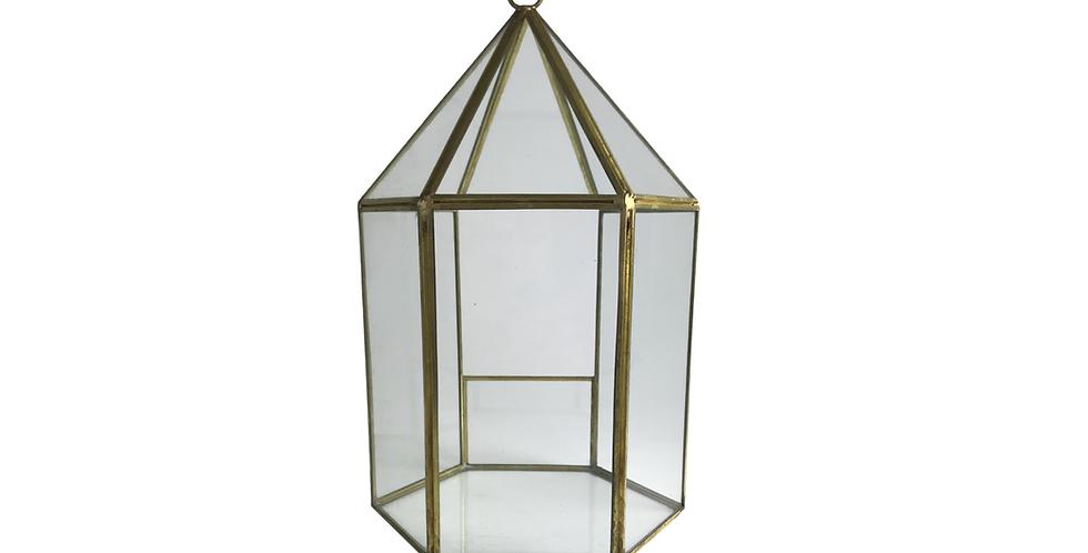 "Gold Geometric Terrarium, 12""H (Hexagon)"