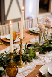 Rustic Barn Wedding Table with Brass Can