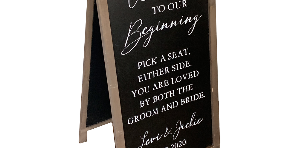 Pick A Seat, Wood Chalkboard Custom Easel Sign
