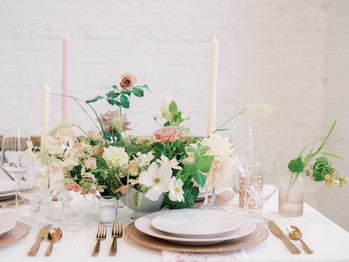 Pink Gold and Ivory Tablescape Wedding