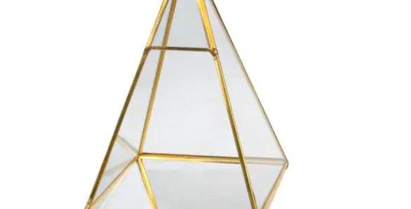 """Gold Geometric Terrarium, 9.45""""H (Triangle)"""