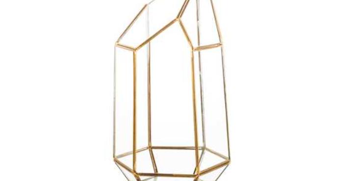 "Gold Geometric Terrarium, 9.25""H"