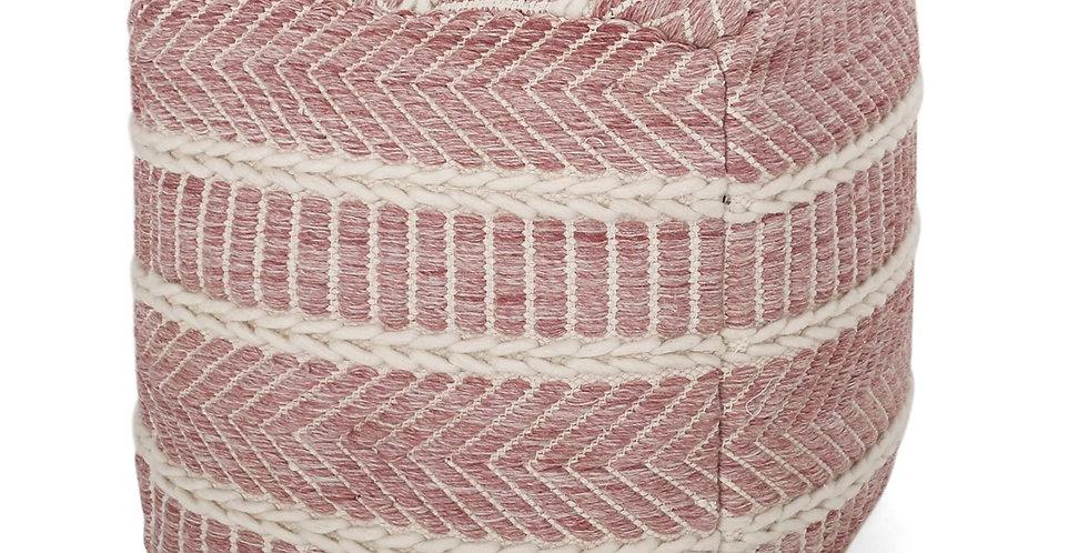 Pink Woven Pouf
