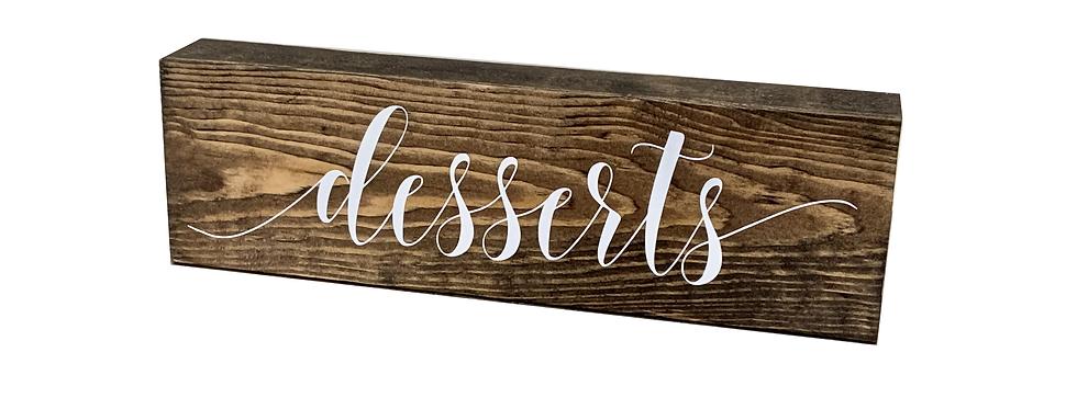 Wooden Desserts Sign