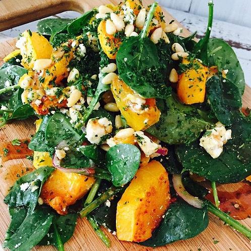 Pumpkin, Spinach, Fetta & Pine Nut Salad