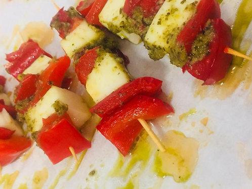 Grilled Haloumi, Roast Capsicum & Pesto skewers 12pcs