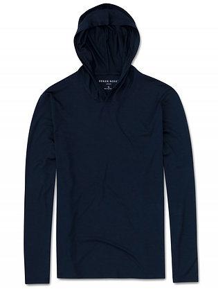 DEREK ROSE Basel Pullover Hoodie - Navy