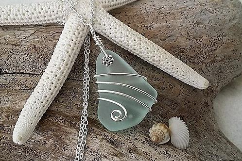 Wire wrapped jewelry seafoam sea glass necklace