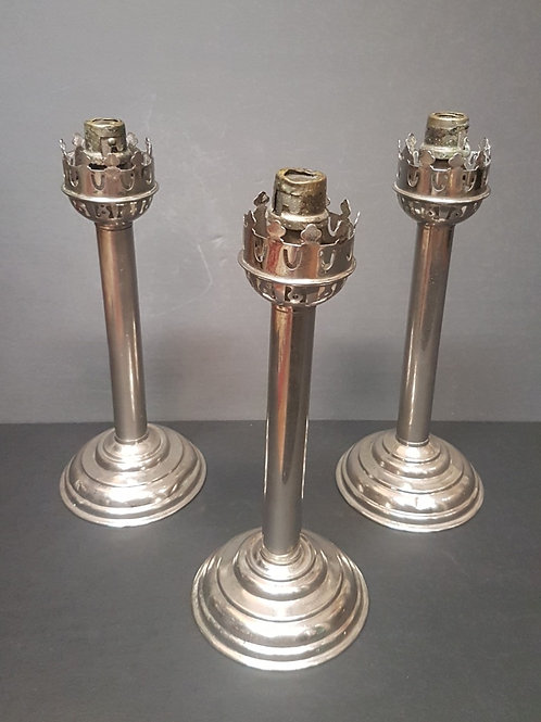 Antique Spring Loaded Push Up Candlesticks Set of 3 from the 1800's