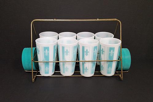 Vintage 50's Hazel Atlas Fleur-de-lis Tumbler Set w Caddy