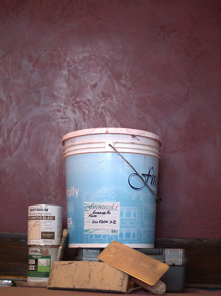 Venetian Plaster or Grassello products used for interior designing. Dark purple or burgundy luxury home design