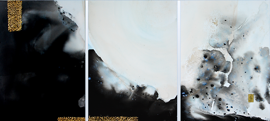 "CLOUD WALKER by Chantal Westby  I   Size: 36"" x 48"" x 3 panels Medium: Ink / Minerals / Gold / Varnish on canvas"
