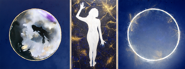 "THE CHALLENGE OR FAREWELL OF OUR STARRY NIGHTS by Chantal Westby  I  Size: 12"" x 30""  &  30"" x 30"" x 2 panels Medium: Ink / Minerals / Silver & Gold / Acylic on canvas"