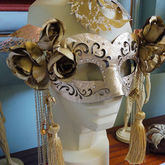 Gold Mask with Roses + Beaded Chains