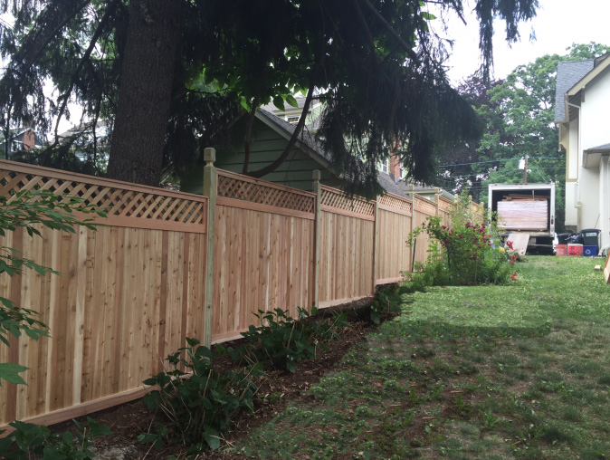 Tongue and Groove Fence, Stepped