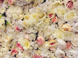 Blush Silk Flowers on Flower Wall