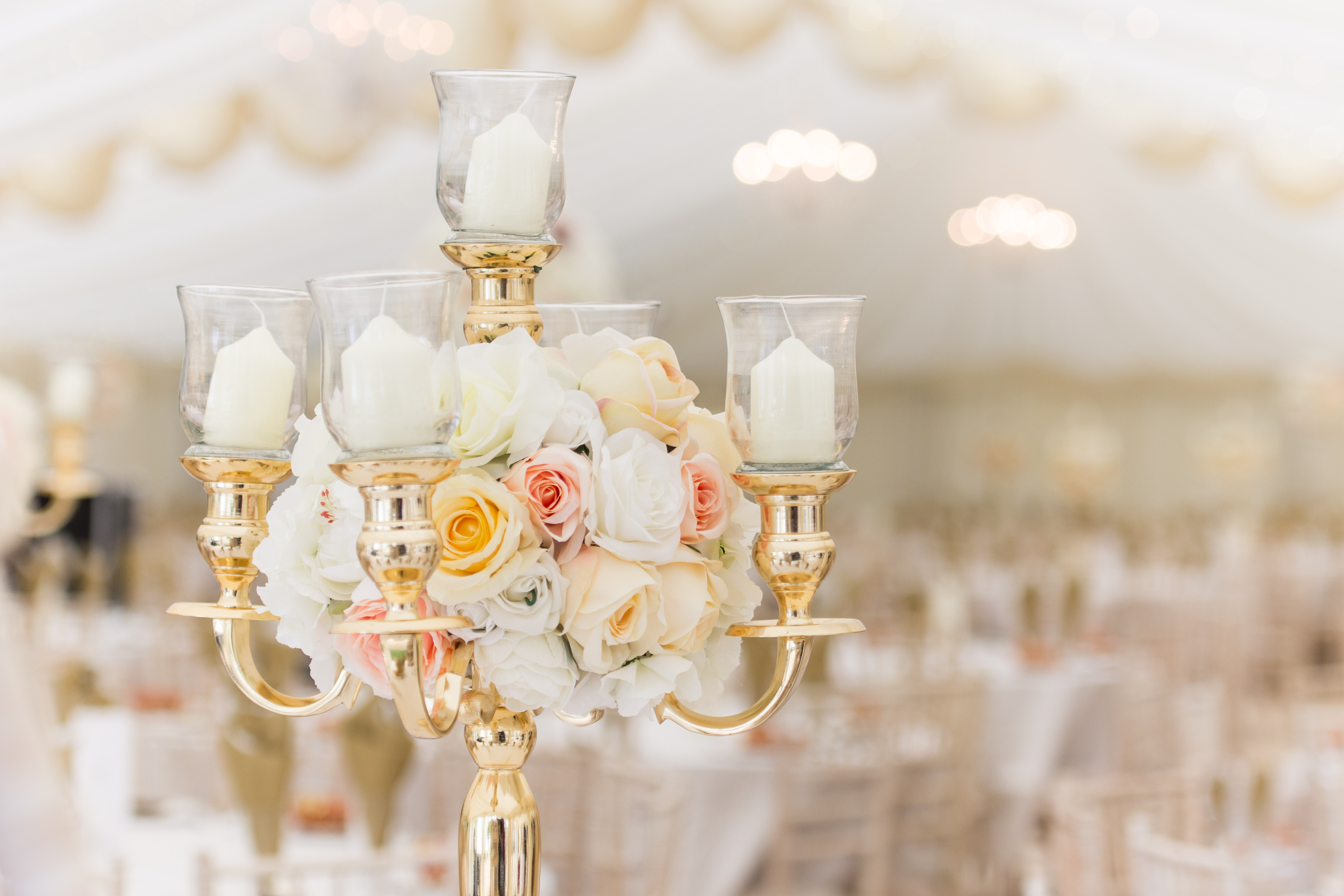 Gold Candelabra with silk flowers