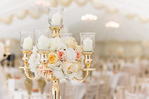 Gol Candelabra for hire with silk flower