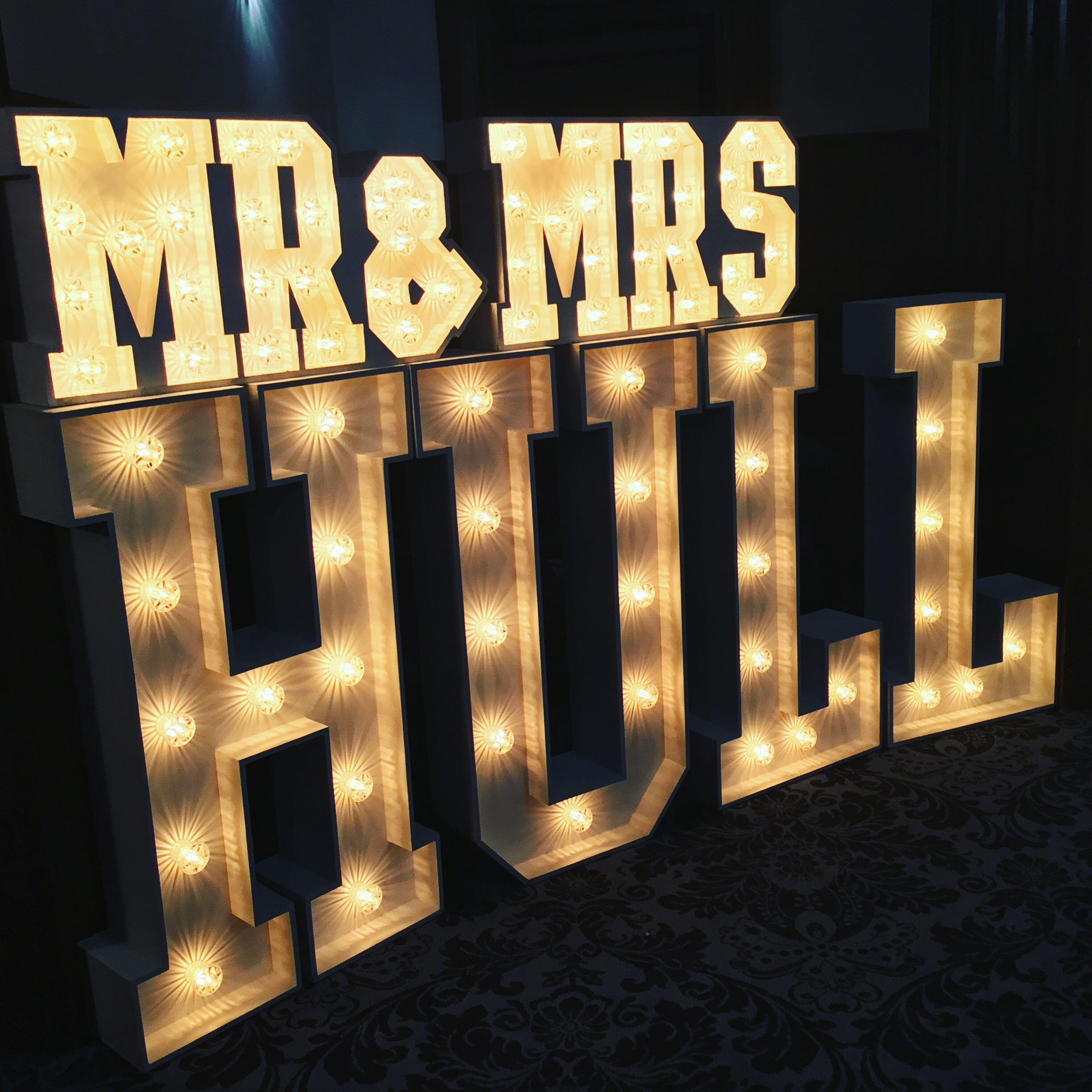 Small MR & MRS light up letters