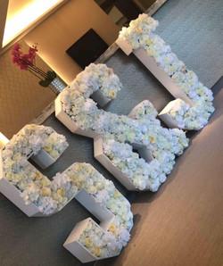 White Flower Letters S&J in flowers Flor