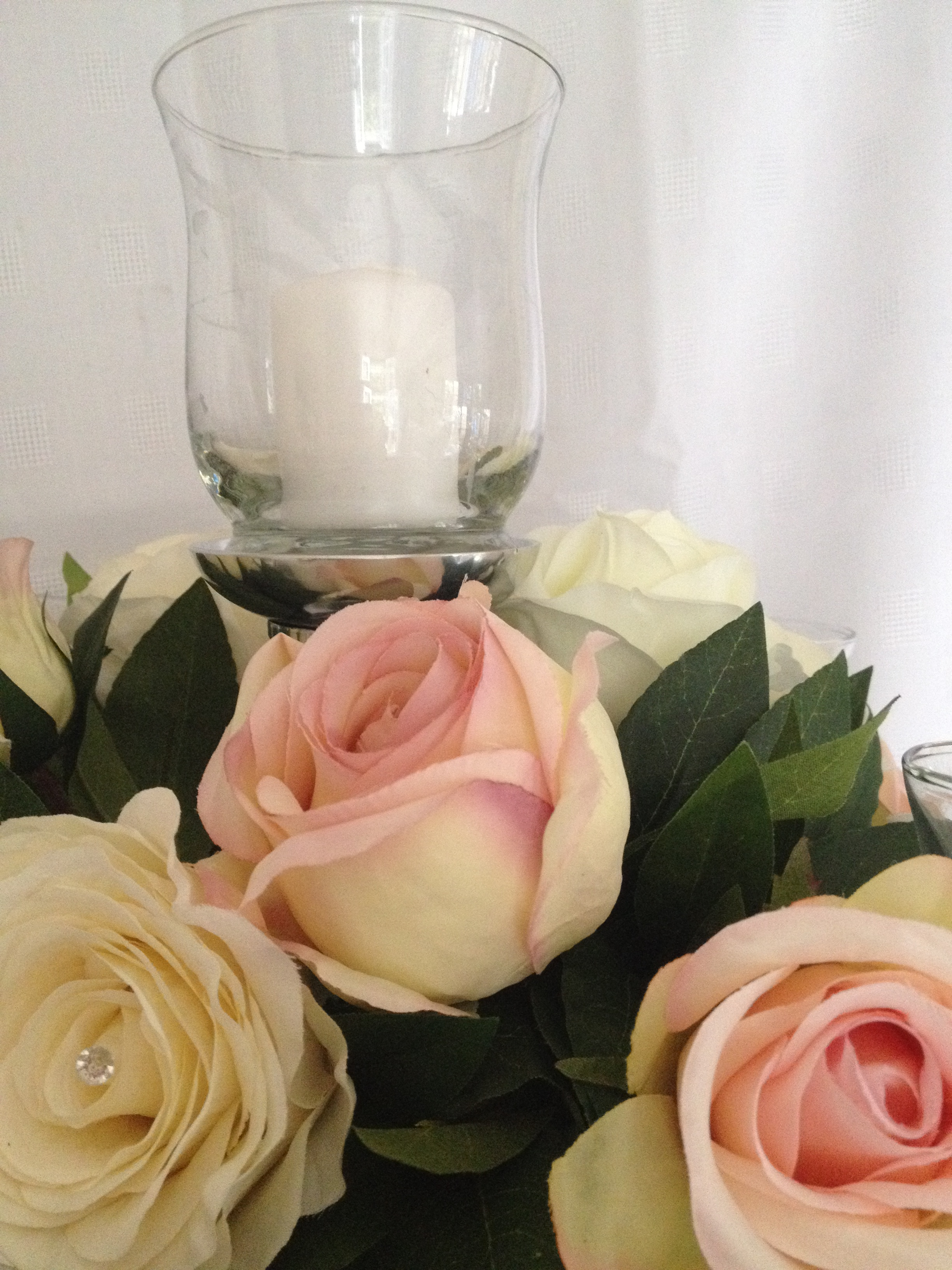 Silk Roses with greenery