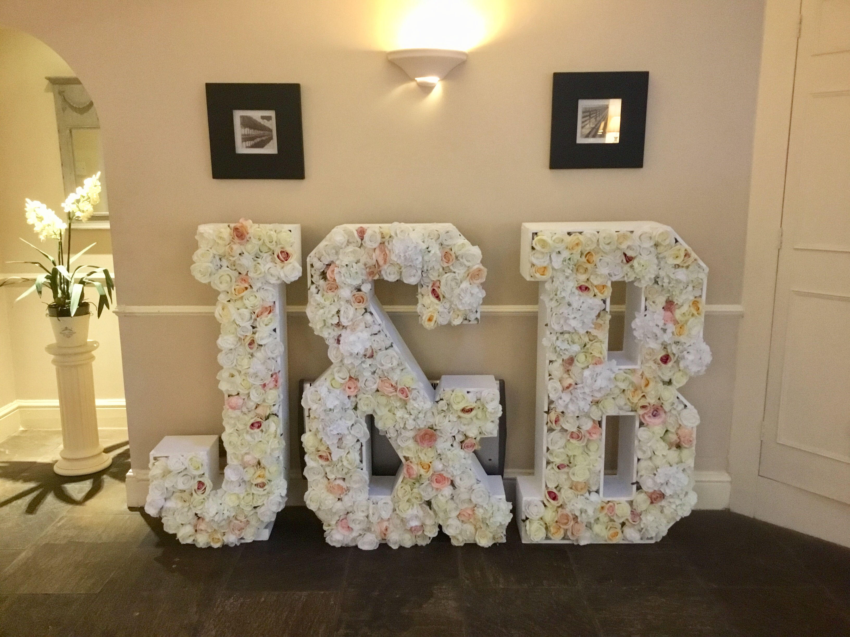 Flowers in Letters Wedding Hire J&B in f