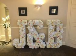 Flowers in Letters Wedding Hire J&B in f