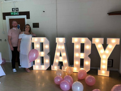 BABY in light up letters Baby shower