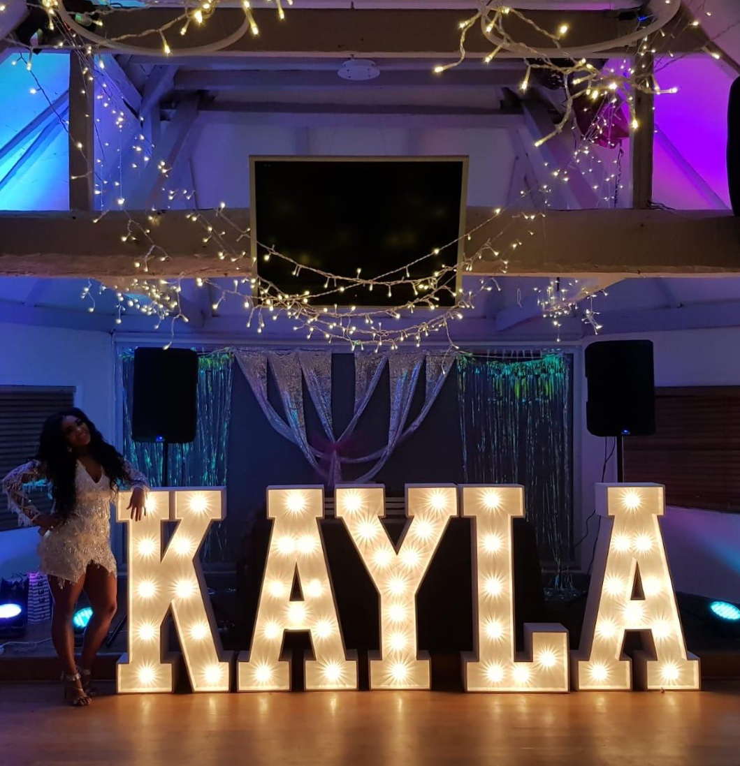 KAYLA in light up letters