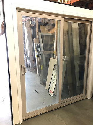 Milgard 6-0 x 6-8 Tuscany Vinyl Gliding Patio Door, Tan with screen and security