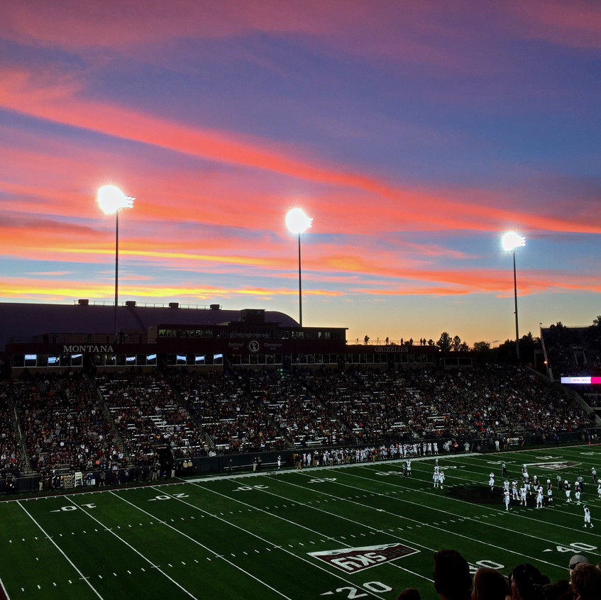 Sunset over the stadium