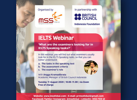 [Webinar Report] What are the Examiners Looking for in IELTS Speaking Tasks? – by Angga Kramadibrata