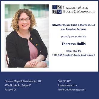 Theressa Hollis Receives 2017 OSB President's Public Service Award
